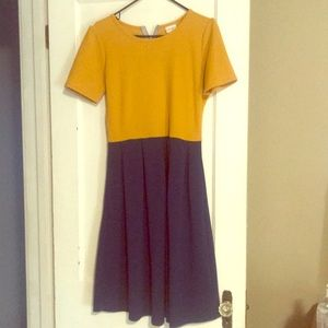 L yellow(golden) and blue LuLaRoe  dress